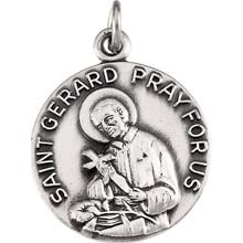 St Gerard Simple Round Sterling Silver Pray for Us Medal  md:1055:s