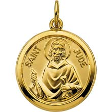 St Jude Round Simple Polished Solid Yellow Gold Medal md:1047:y