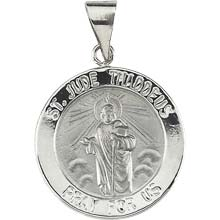 St Jude Round Hollow 14 Karat White Gold Pray for Us Medal md:1044:w