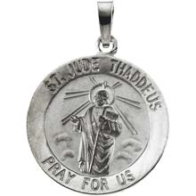 St Jude Round Solid 14 Karat White Gold Pray for Us Medal md:1043:w