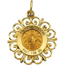 St Jude Fleur-De-Lis Solid 14 Karat Yellow Gold Pray for Us Medal md:1050:y