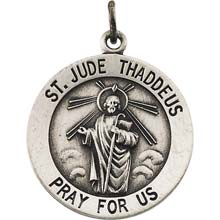 Saint jude round pendant necklace in solid sterling silver pray for st jude round solid sterling silver pray for us medal md1043s mozeypictures Gallery