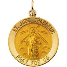 St Jude Round Solid 14 Karat Yellow Gold Pray for Us Medal md:1043:y
