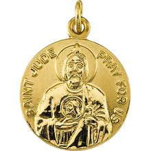 St Jude Solid Round Simple 14 Karat Yellow Gold Pray for Us Medal md:1042:y