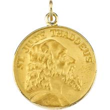 St Jude Solid 14 Karat Yellow Gold Close Up Medal md:1041:y