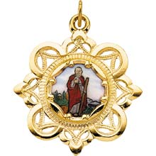 St Jude Enamel Crown Solid 10 Karat Yellow Gold Medal md:1052:y