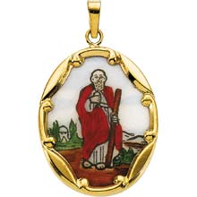 St Jude Enamel Oval Solid 14 Karat Yellow Gold Medal md:1053:y