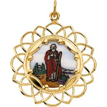 St Jude Enamel Cloud Solid 14 Karat Yellow Gold Medal md:1051:y