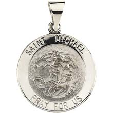 St Michael Hollow 14 Karat White Gold Pray for Us Medal md:1035:w