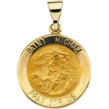 St Michael Round Hollow 14 Karat Yellow Gold Pray for Us Medal md:1035:y