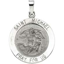St Michael Round Solid White Gold Pray for Us Medal md:1034:w