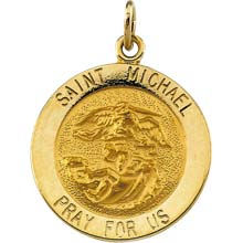 St Michael Round Solid Yellow Gold Pray for Us Medal md:1034:y