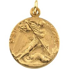 St Michael Solid 14 Karat Yellow Gold Simple Medal md:1040:y