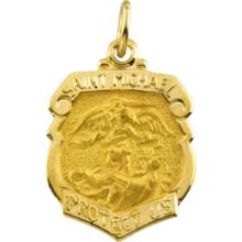 St Michael Shield Solid 14 Karat Yellow Gold Pretect Us Medal md:1036:y