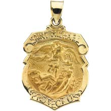 St Michael Shield Hollow 14 Karat Yellow Gold Protect Us Medal md:1037:y
