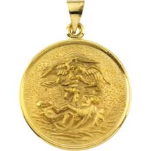 St Michael Solid 18 Karat Yellow Gold Pray for Us Medal md:1038:y