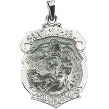 St Michael Shield Solid 14 Karat White Gold Protect Us Medal md:1036:w