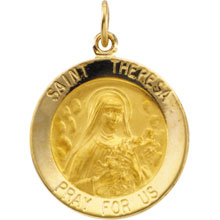 St Theresa Round Solid 14 Karat Yellow Gold Pray for Us Medal md:1064:y