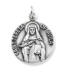 St Theresa Simple Round Solid Sterling Silver Medal md:1065:s