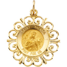 St Theresa Fleur-De-Lis Solid 14 Karat Yellow Gold Pray For Us Medal md:1067:y