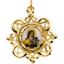 St Theresa Crown Enamel Solid 10 Karat Yellow Gold Medal md:1068:y