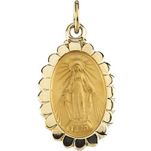 Miraculous Flower Medal Solid 14 Karat Yellow Gold md:1078:y