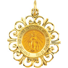 Round Fleur-de-Lis Miraculous Solid 14 Karat Yellow Gold md:1074:y