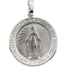 Round Miraculous Medal Solid 14 Karat White Gold md:1069:w