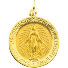 Round Miraculous Medal Solid 14 Karat Yellow Gold md:1069:y