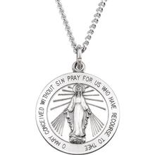 Round Miraculous Medal Solid Sterling Silver md:1069:ss