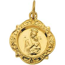 Our Lady of Perpetual Help Fancy Pendant in 14 Karat Yellow