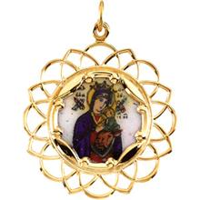 Our Lady of Perpetual Help Framed Color Enamel Pendant in 14 Karat Yellow Gold