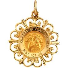 Our Lady of Perpetual Help Round Medal Fleur De Lis Pendant in 14 Karat Yellow Gold