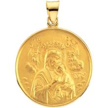 Our Lady of Perpetual Help Round Medal Pendant in 14 Karat Yellow Gold