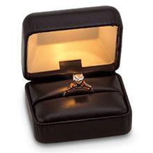 Black Leatherette Lighted Ring Box b:1005:b