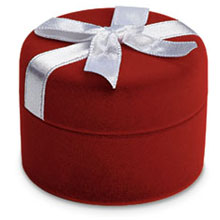 Red Flocked Ring Box With Bow b:1003:b