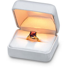 White Leatherette Lighted Ring Box b:1004:b