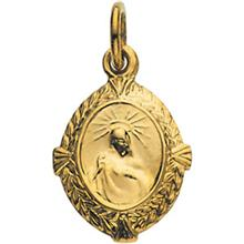 Sacred Heart of Jesus Fancy Oval Medal Pendant in 14 Karat Yellow