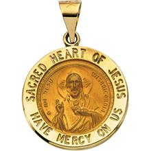 Sacred Heart of Jesus Round Hollow Medal Pendant in 14 Karat Yellow Gold