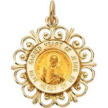 Sacred Heart of Jesus Round Medal Fleur De Lis Pendant in 14 Karat Yellow Gold