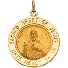 Sacred Heart of Jesus Round Medal Pendant in 14 Karat Yellow Gold