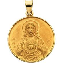 Sacred Heart of Jesus Round Medal Pendant in 18 Karat Yellow Gold