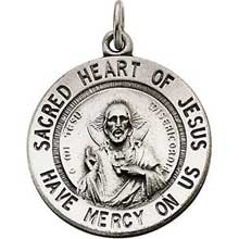 Sacred Heart of Jesus Round Medal Pendant in Sterling Silver with Chain