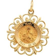 Sacred Heart of Mary Round Medal Fleur De Lis Pendant in 14 Karat Yellow Gold