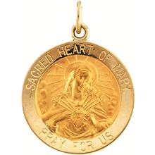 Sacred Heart of Mary Round Medal Pendant in 14 Karat Yellow Gold
