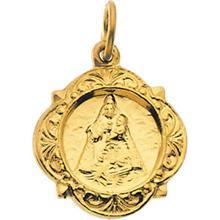 Caridad del Cobre Elegant Medal Pendant in 14 Karat Yellow Gold