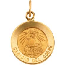 Caridad del Cobre Round Medal Pendant in 14 Karat Yellow Gold 12.00 MM