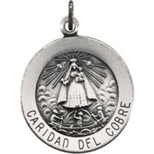 Caridad del Cobre Round Medal Pendant in Sterling Silver 18.25 MM