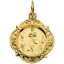 Our Lady of Assumption 14kt Yellow Gold Small Pendant