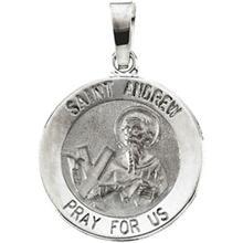 St. Andrew Round Medal Pendant in 14 Karat White Gold